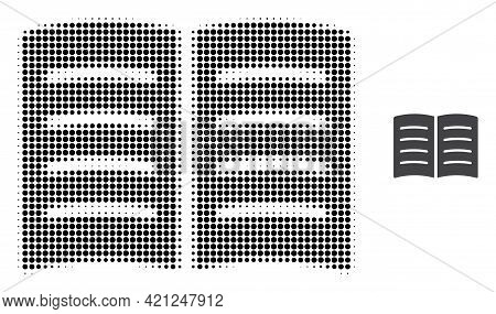 Open Book Halftone Dot Icon Illustration. Halftone Pattern Contains Circle Elements. Vector Illustra