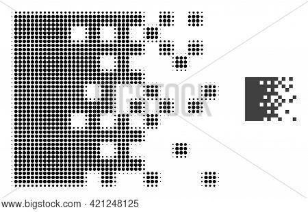 Dissolving Pixels Halftone Dot Icon Illustration. Halftone Pattern Contains Round Elements. Vector I