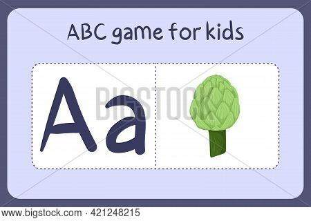 Kid Alphabet Mini Games In Cartoon Style With Letter A - Artichoke. Vector Illustration For Game Des