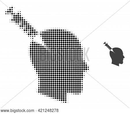 Head Injection Halftone Dot Icon Illustration. Halftone Pattern Contains Circle Dots. Vector Illustr