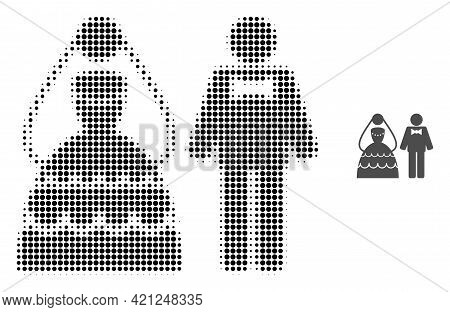 Wedding Couple Halftone Dotted Icon Illustration. Halftone Pattern Contains Round Pixels. Vector Ill