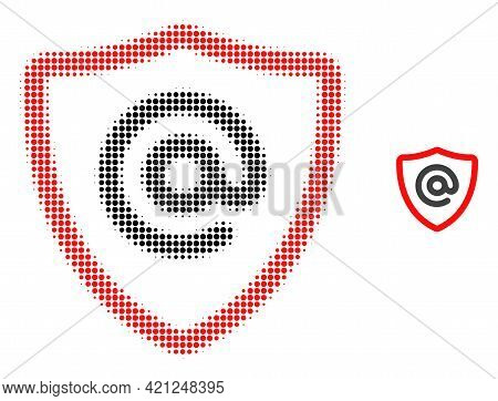 Email Address Protection Halftone Dotted Icon Illustration. Halftone Pattern Contains Round Points.