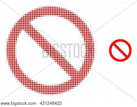 Forbidden Halftone Dot Icon Illustration. Halftone Array Contains Round Elements. Vector Illustratio