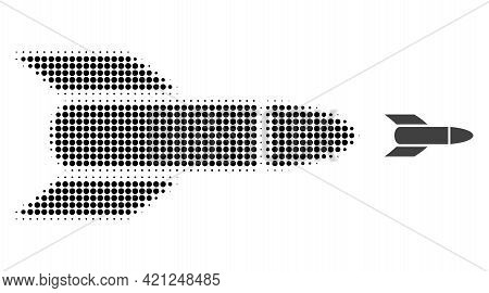 Rocket Halftone Dotted Icon Illustration. Halftone Array Contains Round Elements. Vector Illustratio