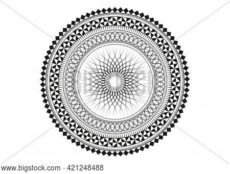 Mandala Sacred Geometry Symbol Elements, Black Line Art. Oriental Pattern, Vector Illustration. Isla