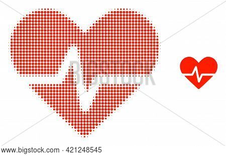Heart Pulse Halftone Dot Icon Illustration. Halftone Array Contains Round Dots. Vector Illustration