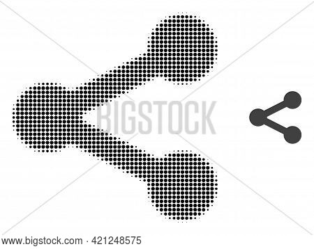 Share Halftone Dotted Icon Illustration. Halftone Array Contains Round Points. Vector Illustration O