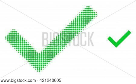 Yes Tick Halftone Dot Icon Illustration. Halftone Pattern Contains Round Dots. Vector Illustration O