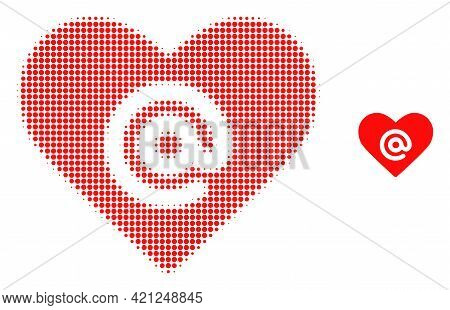 Dating Heart Address Halftone Dot Icon Illustration. Halftone Array Contains Round Elements. Vector