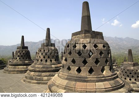 Stoepa Of The Borobudur Temple.the 9th-century Mahayana Buddhist Temple Borobudur, Magelang Regency,