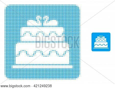 Marriage Cake Halftone Dot Icon Illustration. Halftone Pattern Contains Circle Pixels. Vector Illust