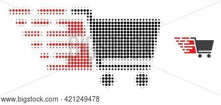 Supermarket Cart Halftone Dot Icon Illustration. Halftone Pattern Contains Circle Elements. Vector I
