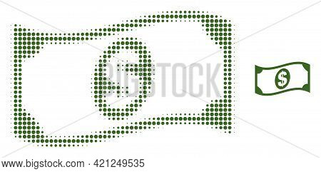Waving Dollar Banknote Halftone Dotted Icon Illustration. Halftone Pattern Contains Circle Elements.