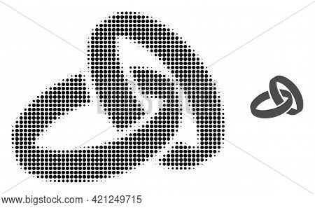 Wedding Rings Halftone Dotted Icon Illustration. Halftone Pattern Contains Circle Pixels. Vector Ill