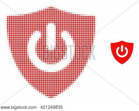 Shield Turn Off Halftone Dotted Icon Illustration. Halftone Array Contains Round Pixels. Vector Illu