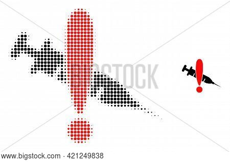 Danger Vaccine Halftone Dot Icon Illustration. Halftone Pattern Contains Round Points. Vector Illust