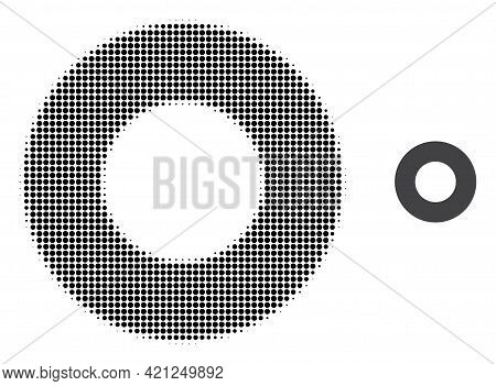 Donut Halftone Dotted Icon Illustration. Halftone Array Contains Circle Elements. Vector Illustratio