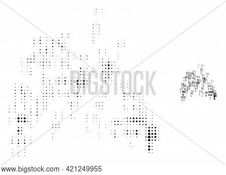 Sand Swarm Halftone Dot Icon Illustration. Halftone Pattern Contains Round Points. Vector Illustrati
