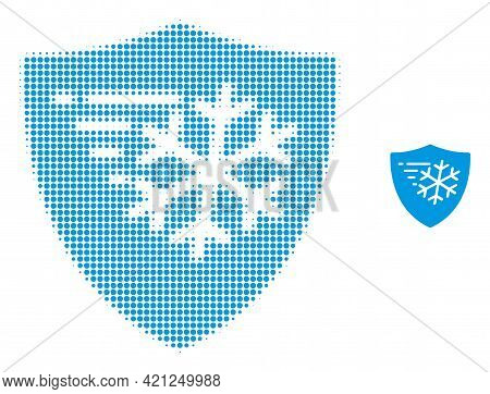Frost Protection Halftone Dot Icon Illustration. Halftone Pattern Contains Round Dots. Vector Illust