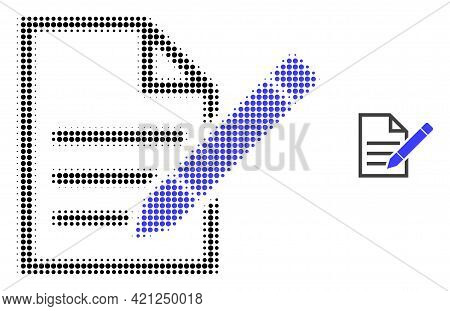 Edit Text Page Halftone Dotted Icon Illustration. Halftone Pattern Contains Circle Pixels. Vector Il