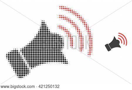 Megaphone Halftone Dotted Icon Illustration. Halftone Array Contains Round Pixels. Vector Illustrati
