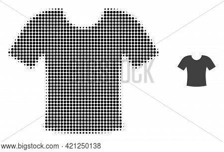 T-shirt Halftone Dotted Icon Illustration. Halftone Array Contains Round Points. Vector Illustration