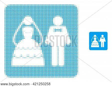 Wedding Couple Halftone Dot Icon Illustration. Halftone Array Contains Round Pixels. Vector Illustra
