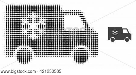 Refrigerator Car Halftone Dotted Icon Illustration. Halftone Pattern Contains Round Elements. Vector