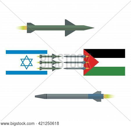 Palestine And Israel Military Conflict. The Flag Of Palestine And The Flag Of Israel. Rockets Are Fl