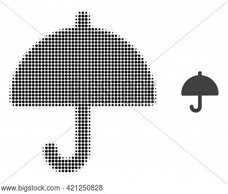 Umbrella Halftone Dotted Icon Illustration. Halftone Array Contains Round Elements. Vector Illustrat