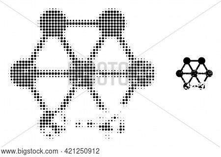 Damaged Blockchain Halftone Dotted Icon Illustration. Halftone Array Contains Circle Points. Vector