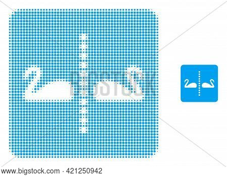 Separate Swans Halftone Dot Icon Illustration. Halftone Array Contains Round Dots. Vector Illustrati