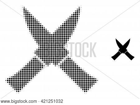 Crossing Knives Halftone Dotted Icon Illustration. Halftone Pattern Contains Circle Dots. Vector Ill