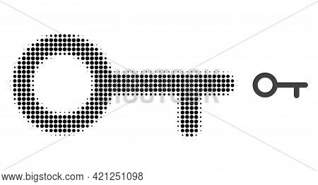 Key Halftone Dotted Icon Illustration. Halftone Array Contains Round Dots. Vector Illustration Of Ke