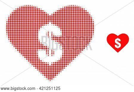 Love Price Halftone Dot Icon Illustration. Halftone Pattern Contains Round Elements. Vector Illustra
