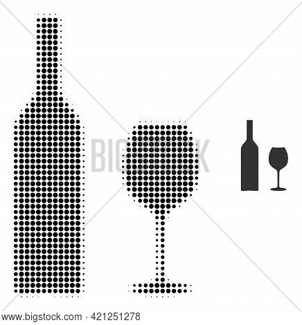 Wine Glassware Halftone Dotted Icon Illustration. Halftone Pattern Contains Circle Pixels. Vector Il