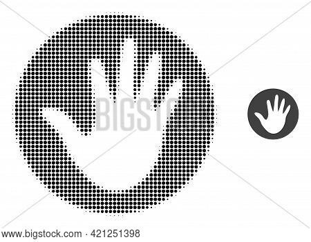 Hand Circle Halftone Dotted Icon Illustration. Halftone Array Contains Circle Points. Vector Illustr
