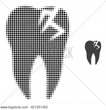 Tooth Fracture Halftone Dot Icon Illustration. Halftone Pattern Contains Circle Elements. Vector Ill