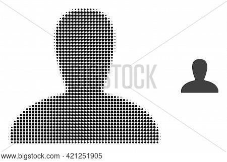 Spawn Persona Halftone Dotted Icon Illustration. Halftone Pattern Contains Circle Dots. Vector Illus