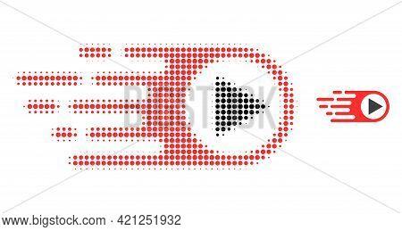 Rush Right Halftone Dot Icon Illustration. Halftone Array Contains Circle Dots. Vector Illustration