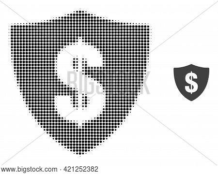 Dollar Shield Halftone Dot Icon Illustration. Halftone Pattern Contains Circle Elements. Vector Illu