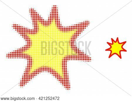 Exploding Boom Halftone Dot Icon Illustration. Halftone Pattern Contains Circle Points. Vector Illus