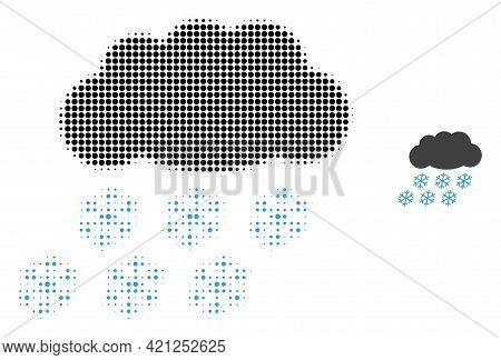 Snow Cloud Halftone Dot Icon Illustration. Halftone Pattern Contains Circle Dots. Vector Illustratio