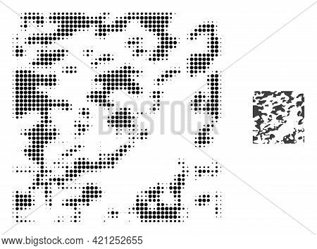 Destructed Halftone Dot Icon Illustration. Halftone Array Contains Circle Dots. Vector Illustration