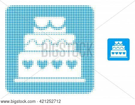 Marriage Cake Halftone Dot Icon Illustration. Halftone Array Contains Round Points. Vector Illustrat