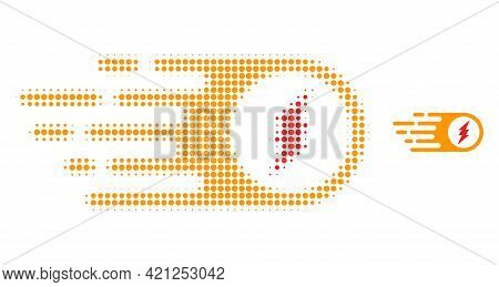 Electric Spark Halftone Dot Icon Illustration. Halftone Array Contains Circle Pixels. Vector Illustr
