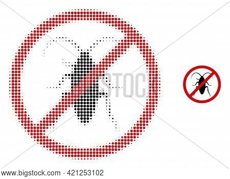 Forbidden Cockroach Halftone Dotted Icon Illustration. Halftone Pattern Contains Circle Pixels. Vect