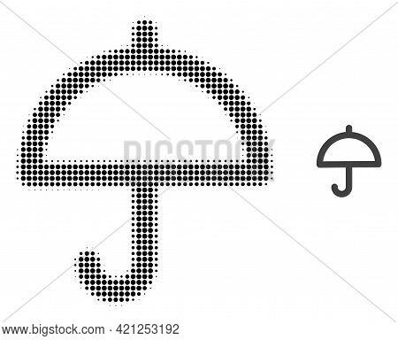 Umbrella Halftone Dot Icon Illustration. Halftone Array Contains Round Elements. Vector Illustration