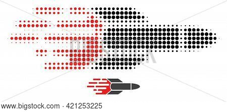 Missile Halftone Dotted Icon Illustration. Halftone Array Contains Round Elements. Vector Illustrati