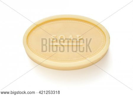 Natural soap with donkey milk on white background, Clipping path